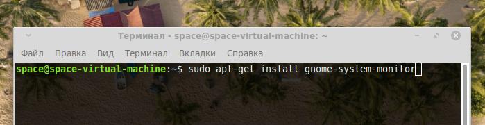 Команда установки gnome-system-monitor в операционной системе Linux Mint
