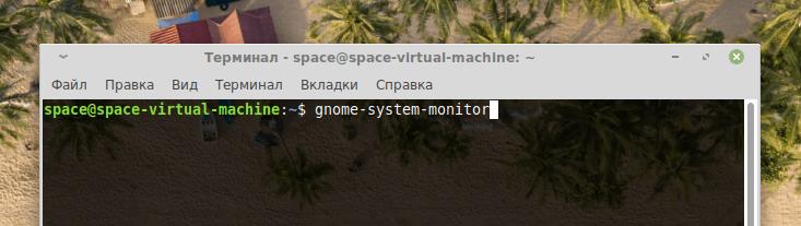 Команда запуска gnome-system-monitor
