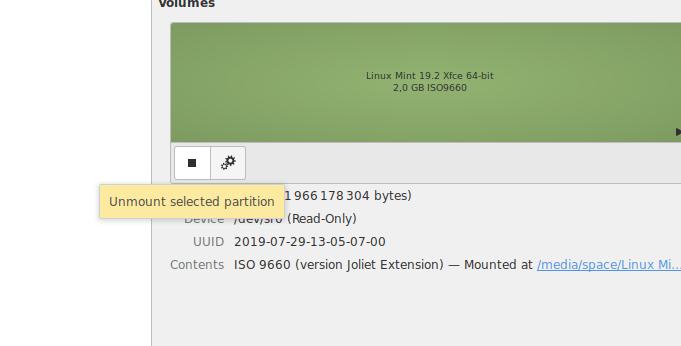 Функция отключения жесткого диска в интерфейсе Gnome Disk Utility