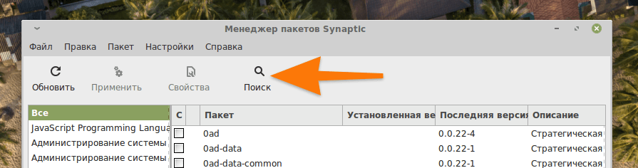 Интерфейс менеджера пакетов Synaptic