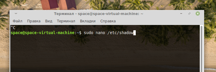 Команда для запуска nano с открытым файлом /etc/shadow