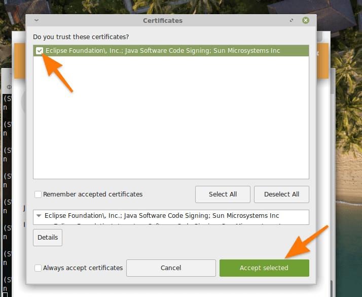 Список сертификатов для установки Eclipse