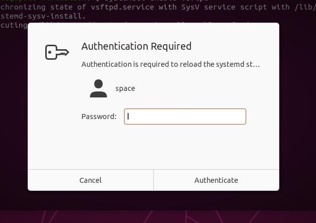 Запрос на ввод пароля в графической оболочке