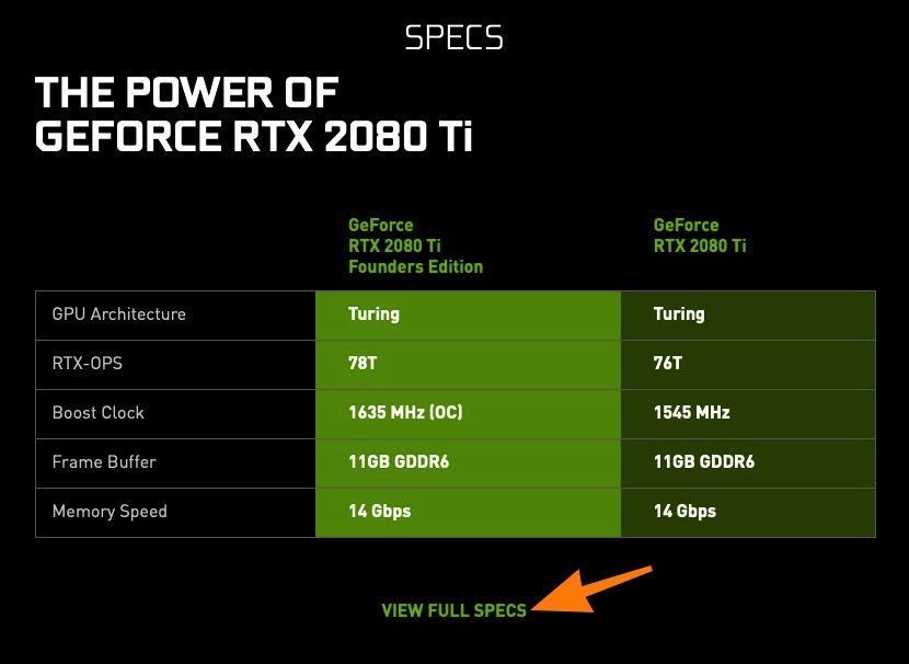 Характеристики видеокарты на официальной сайте Nvidia
