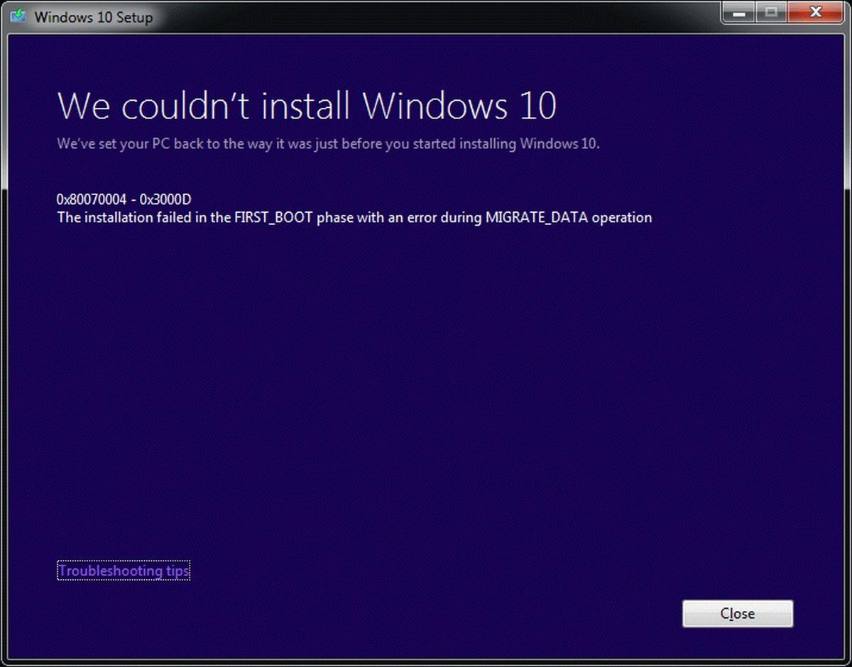 Как исправить ошибку 0x8007025d при установке Windows 10