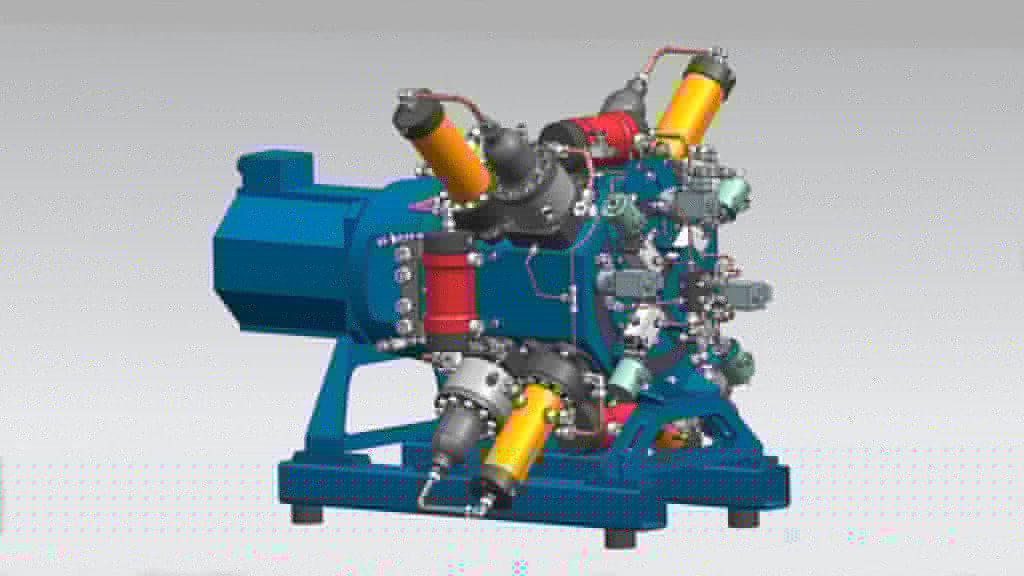 Модель двигателя, разработанная в NX