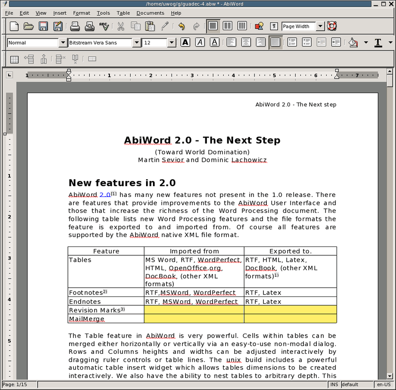 Интерфейс текстового редактора из пакета Gnome Office