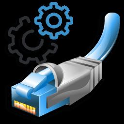 Иконка настройки, сеть, кабель Ethernet