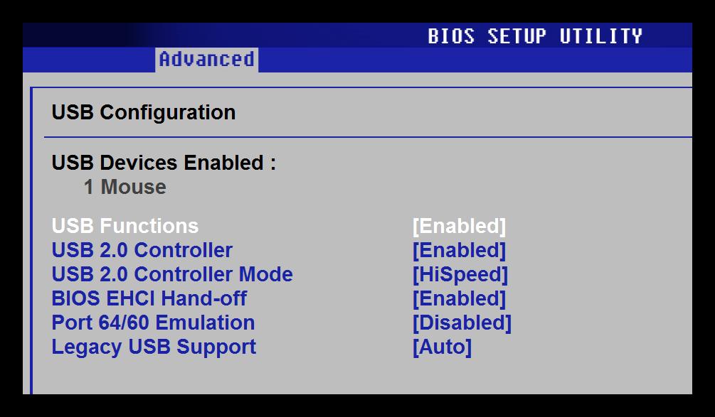 USB Configuration БИОС