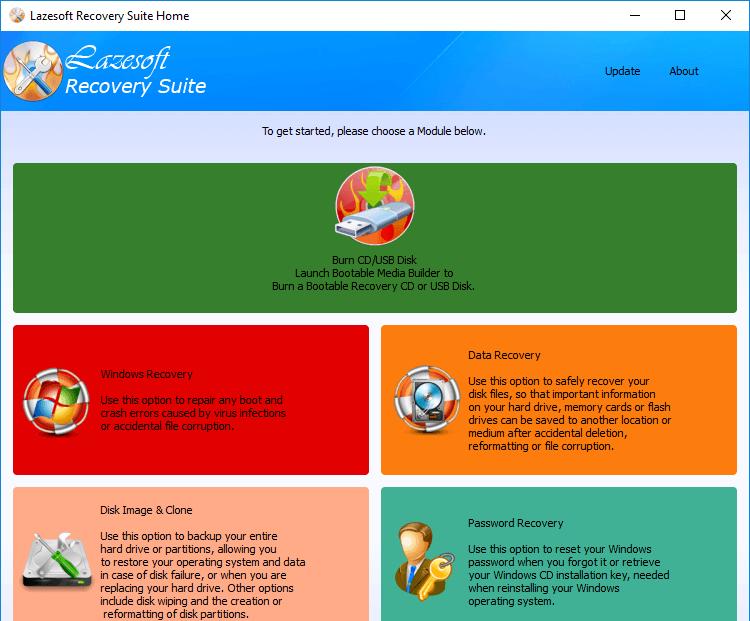 Главное окно Lazesoft Recovery Suite