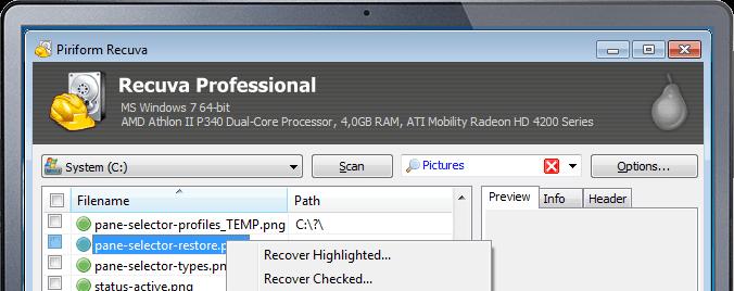 Интерфейс приложения Recuva с найденными файлами