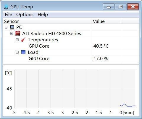 Главное окно GPU Temp