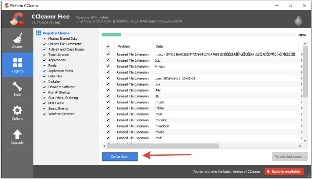 Очистка реестра с помощью программы CCleaner