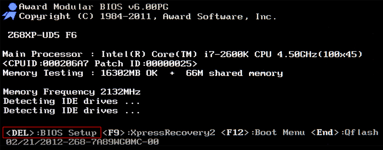 Клавиша для запуска BIOS