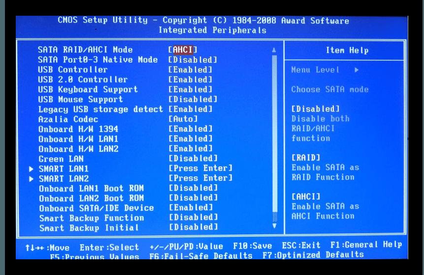 Включение режима AHCI в BIOS