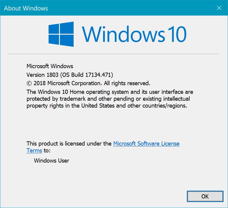 Версия и сборка Windows 10