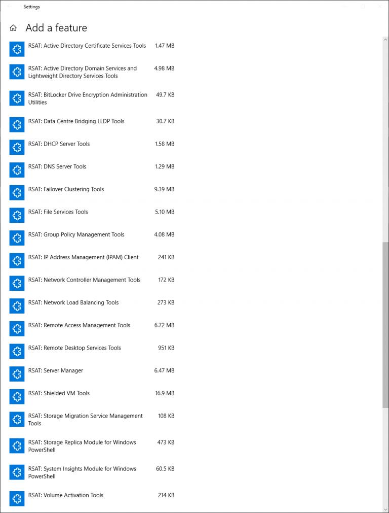 Активация компонентов RSAT на Windows 10 1809