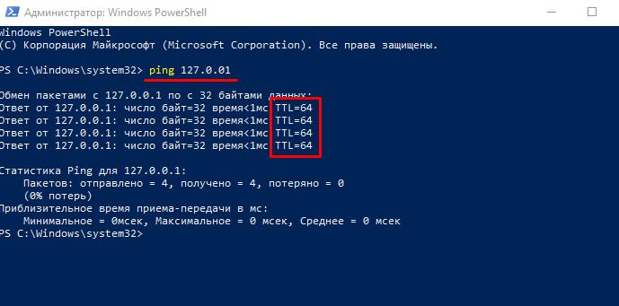Проверка TTL на Windows 10