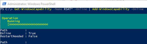 Активация компонентов RSAT через PowerShell