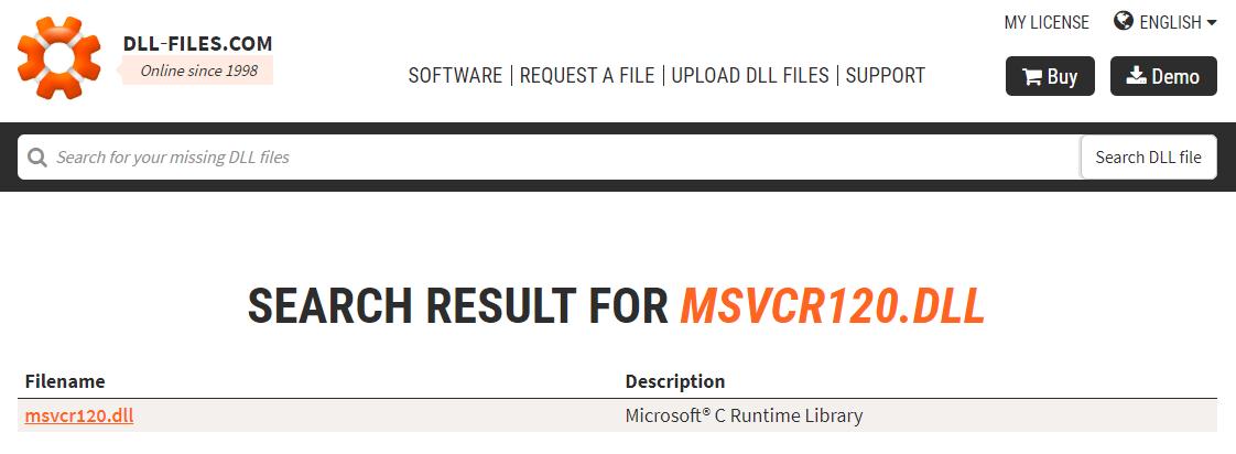 Поиск файла msvcr120.dll