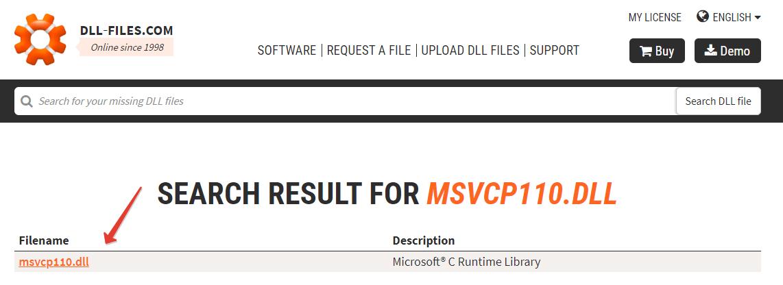 Файл msvcp110.dll в онлайн-хранилище