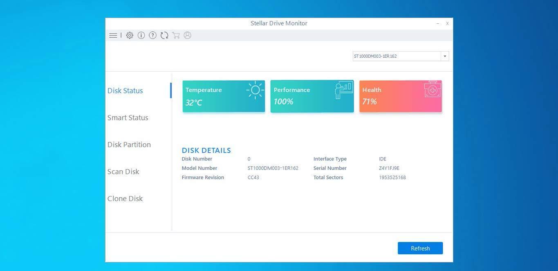 Интерфейс программы Stellar Drive Monitor
