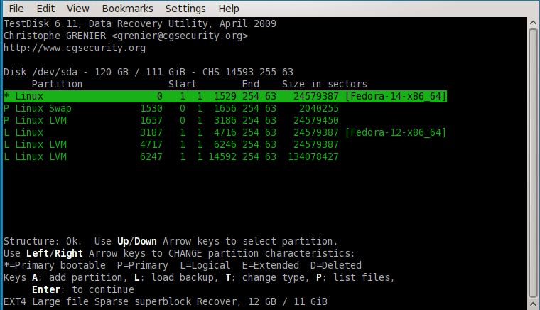 Интерфейс утилиты TestDisk в терминале