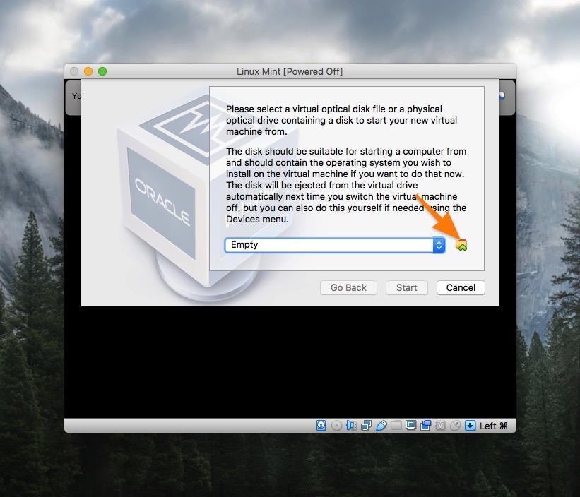Выбор образа для загрузки в VirtualBox