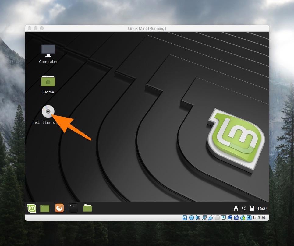 Рабочий стол Linux Mint в Live-режиме
