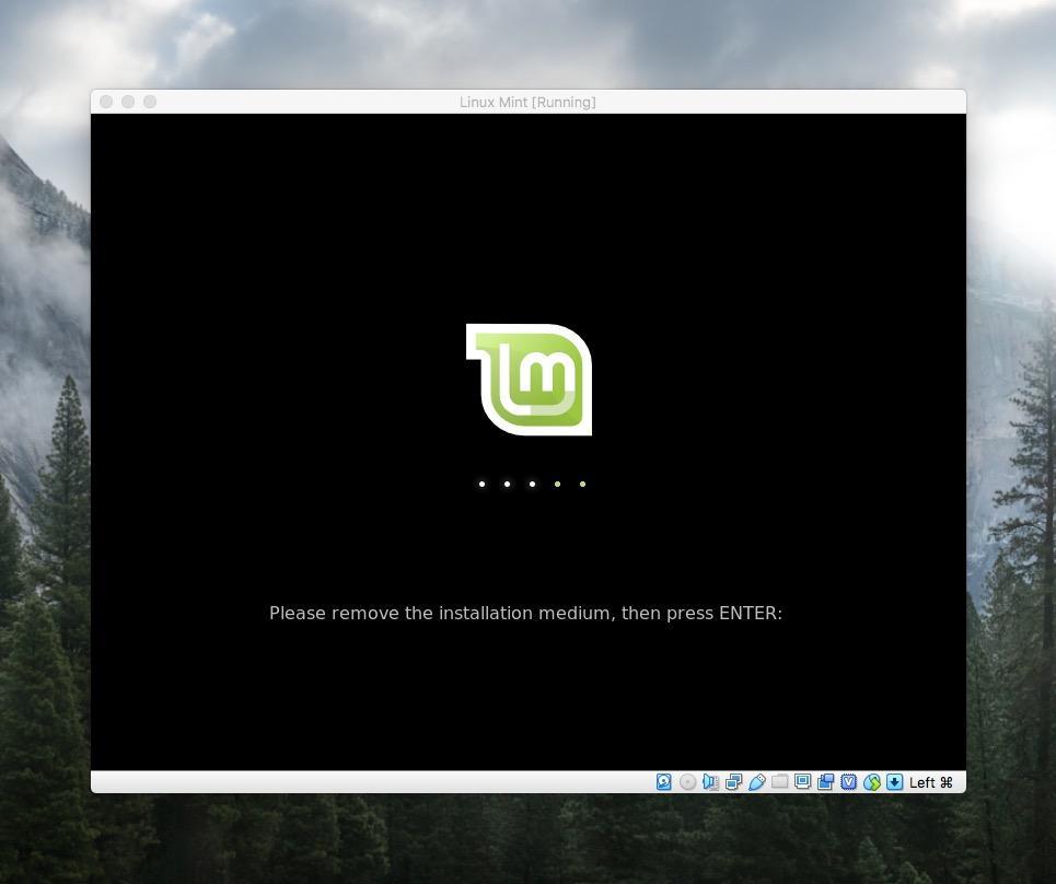 Экран загрузки Linux Mint