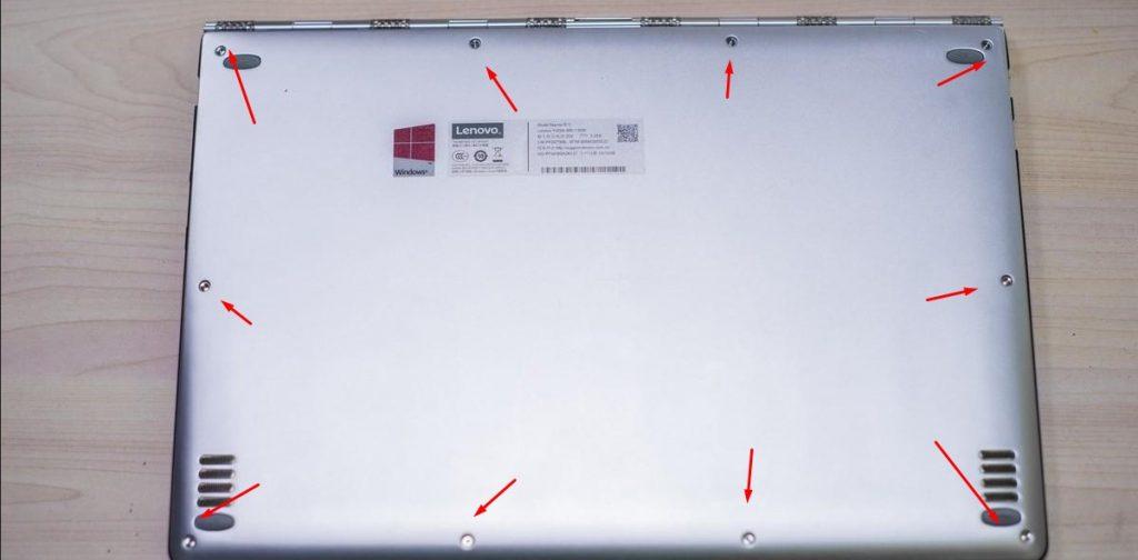 Нижняя крышка ноутбука Lenovo, скрывающая комплектующие