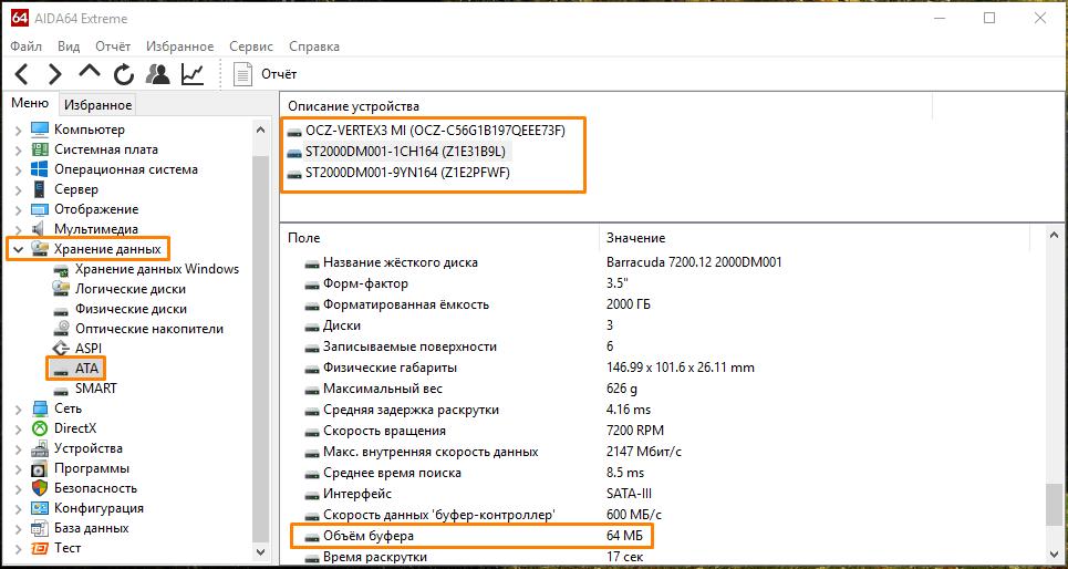 Раздел «Хранение данных» в окне программы «AIDA 64»