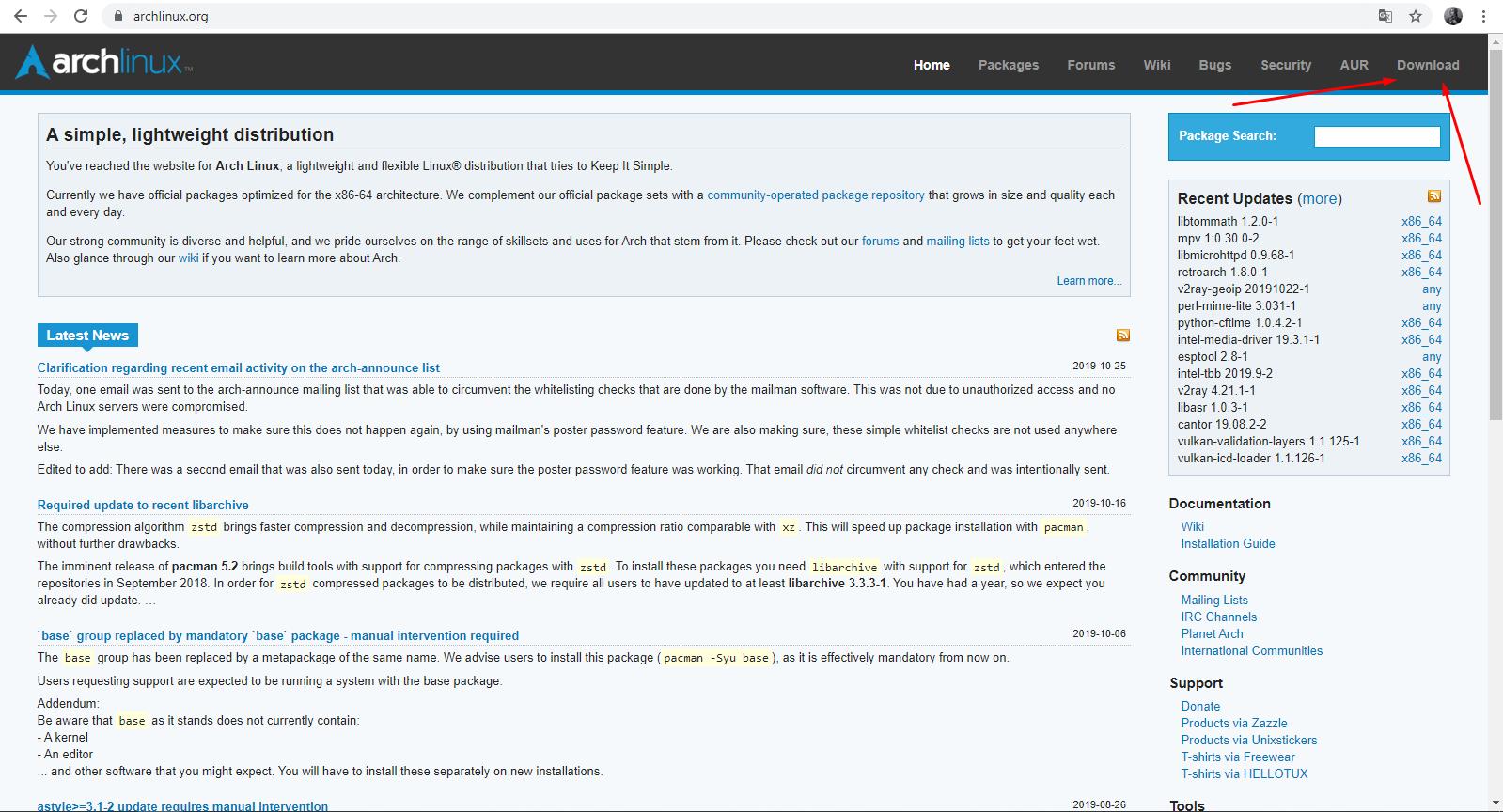 Официальный сайт Arch Linux