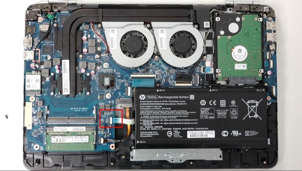 Внутренности ноутбука HP DV6