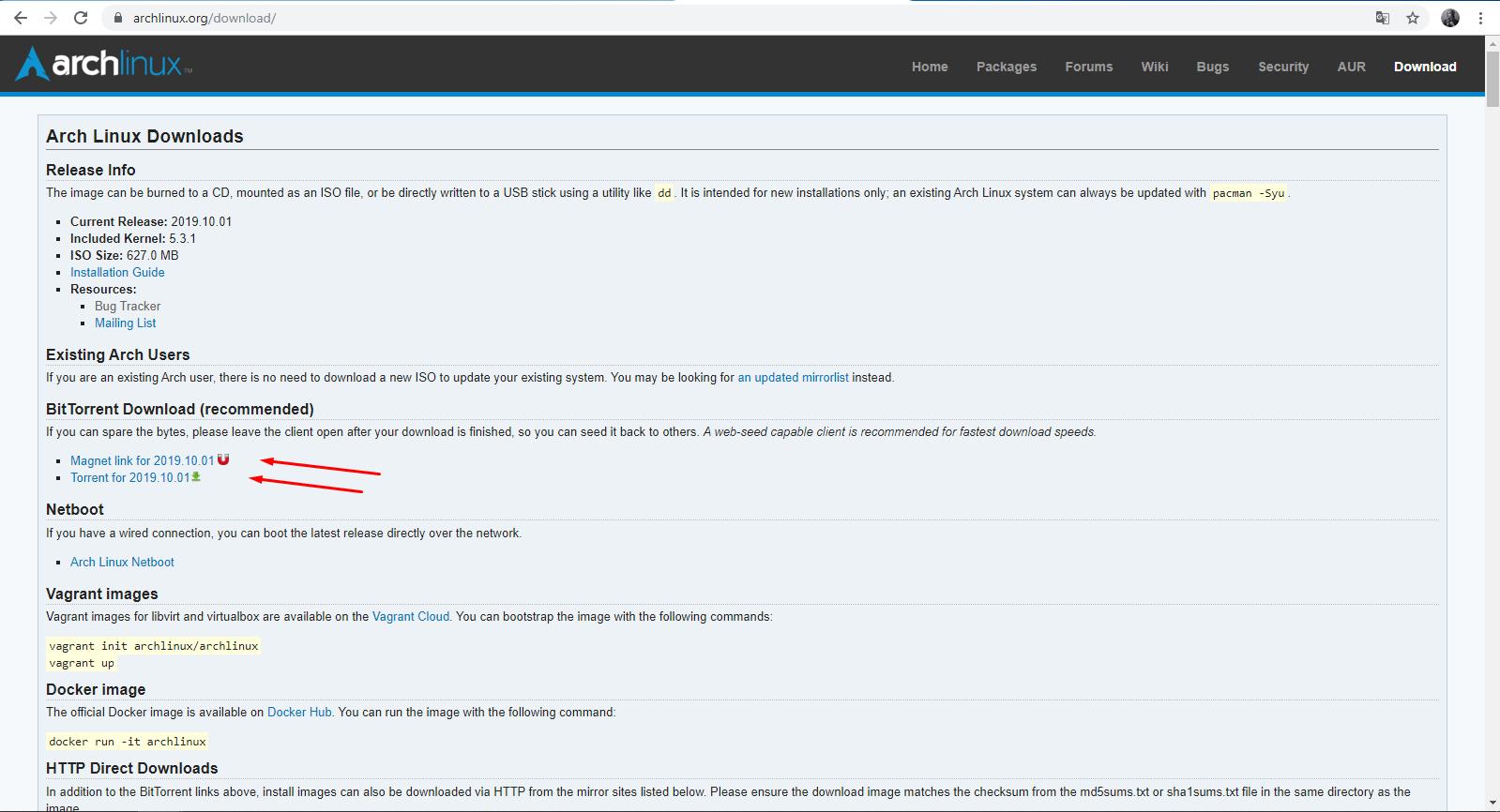 Ссылки на скачивание образа Arch на официальном сайте