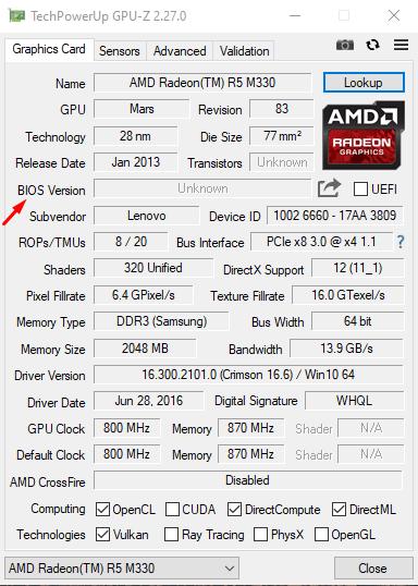 Поиск версии BIOS видеокарты в приложении GPU-Z