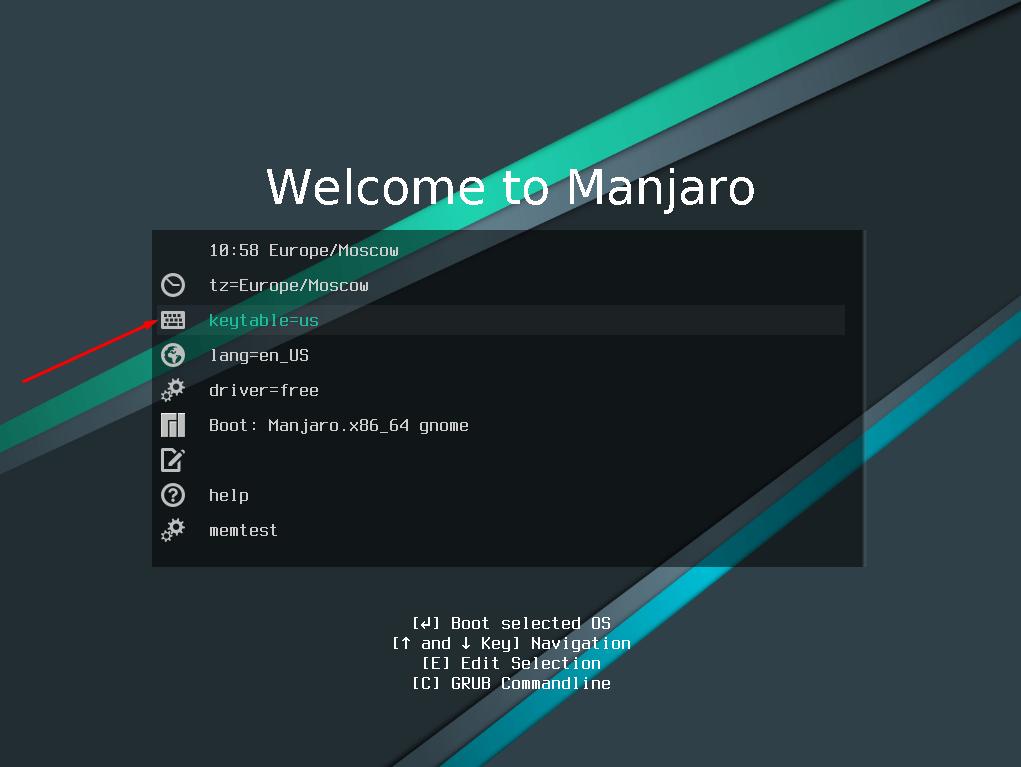Установка раскладки клавиатуры при установке Manjaro