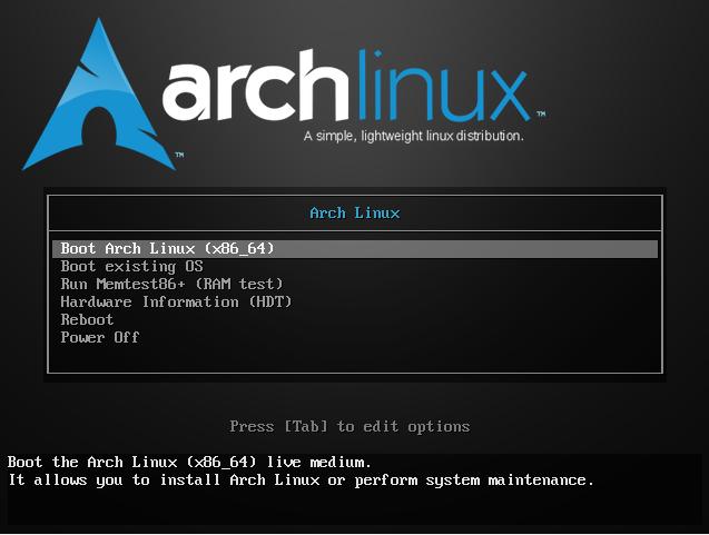 Начальный экран установки системы Arch