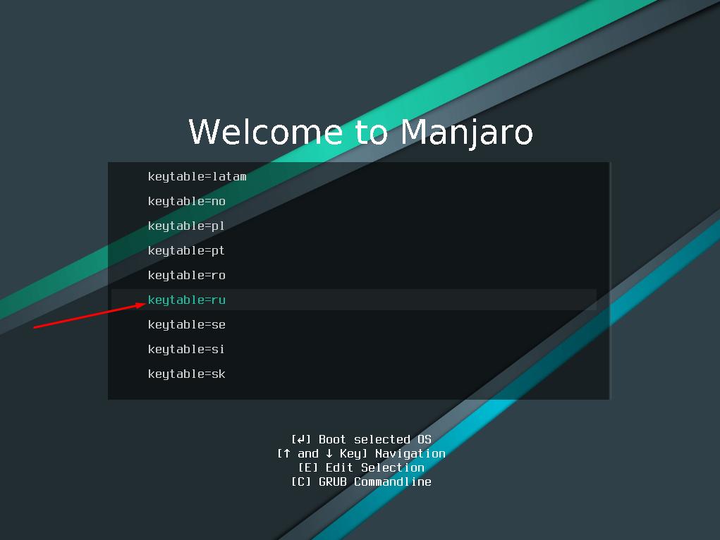 Установка раскладки клавиатуры во время установки дистрибутива Manjaro Linux