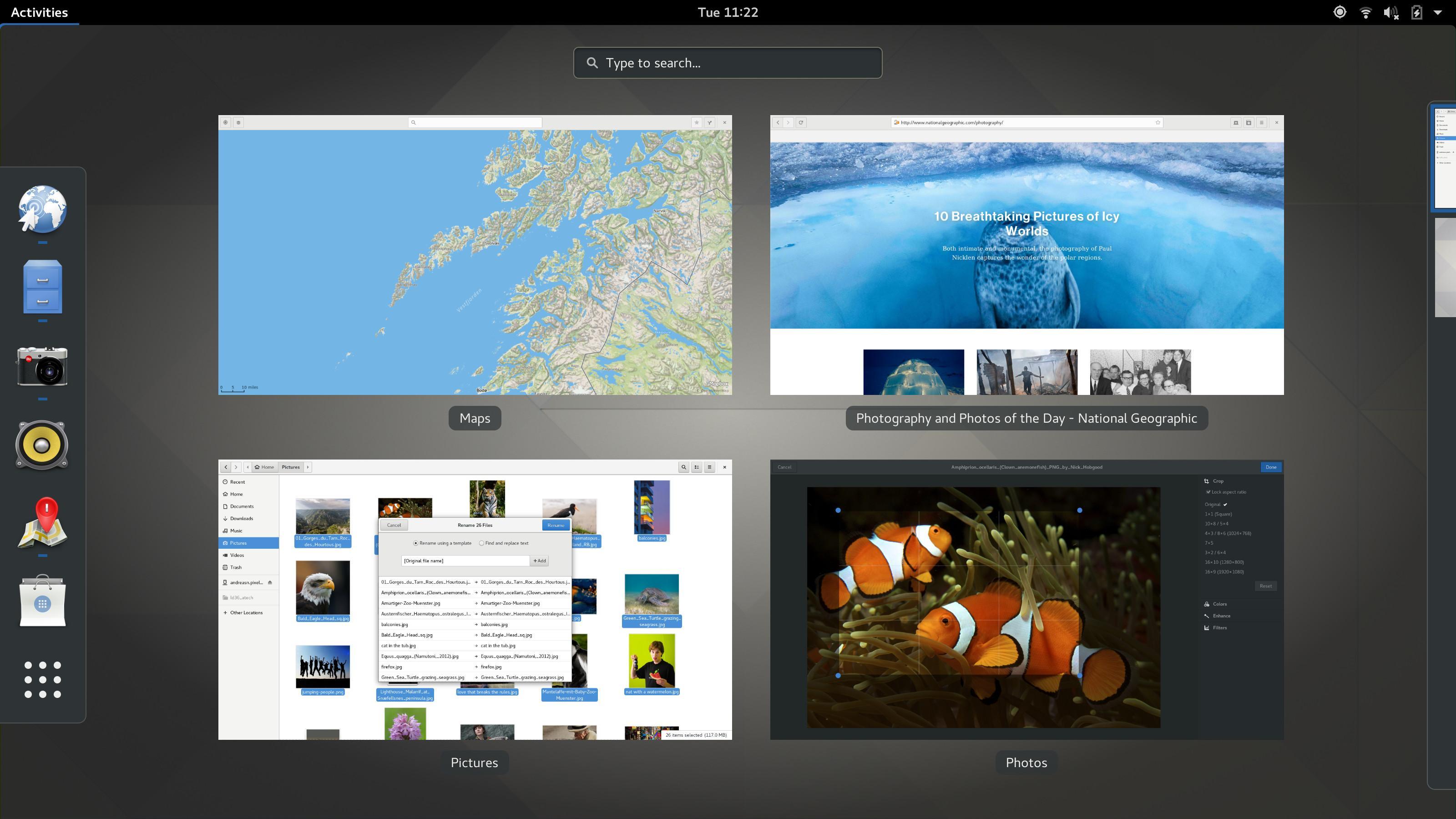 Активные приложения в оболочке GNOME 3