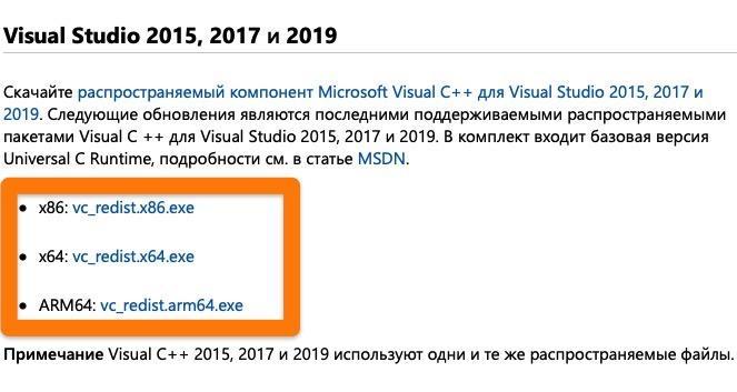 Варианты загрузки Microsoft Visual Studio