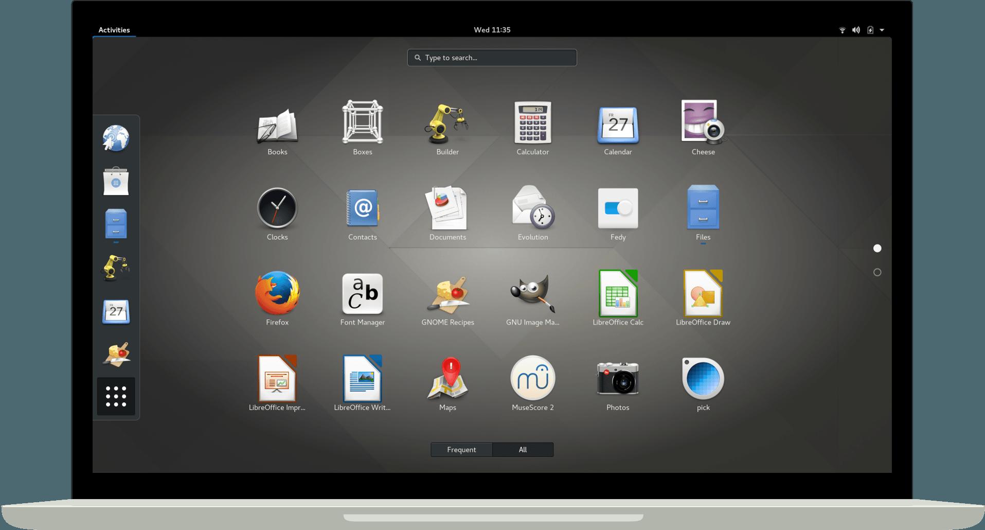 Список установленных приложений в GNOME 3