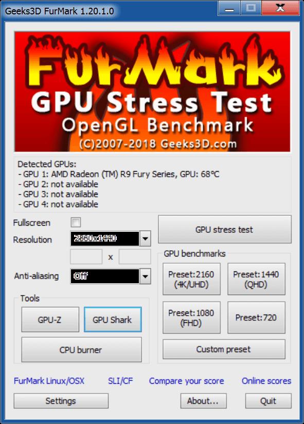 Тестирование видеокарты с FURMARK
