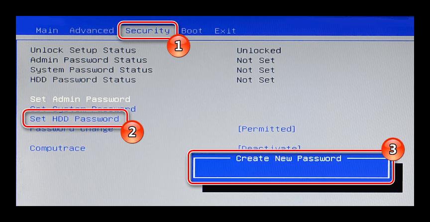 BIOS Security Set HDD Password