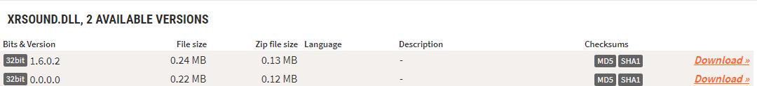 Скачивание DLL-файла xrsound.dll