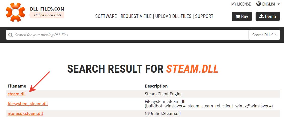 Загрузка файла steam.dll