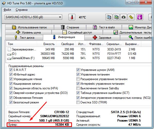 Просмотр объёма буферной памяти через HDTune