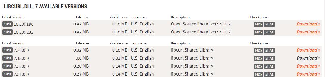 Скачивание компонента libcurl.dll