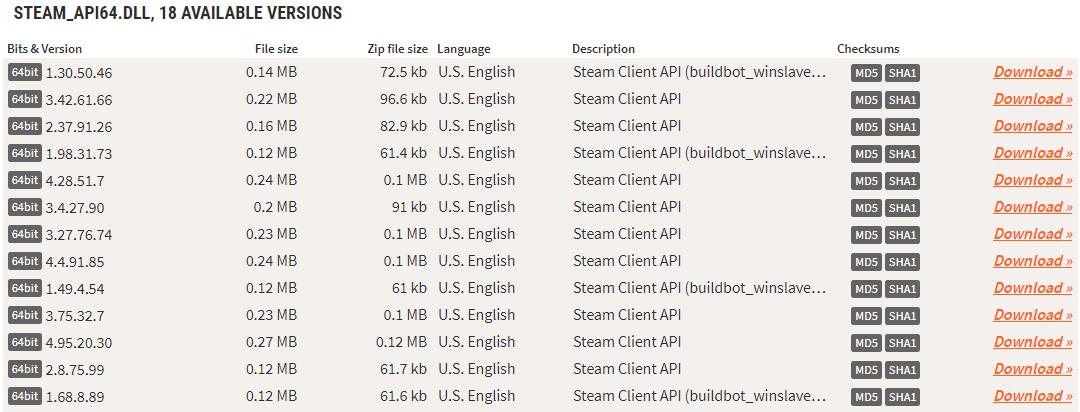 Скачивание файла steam_api64.dll