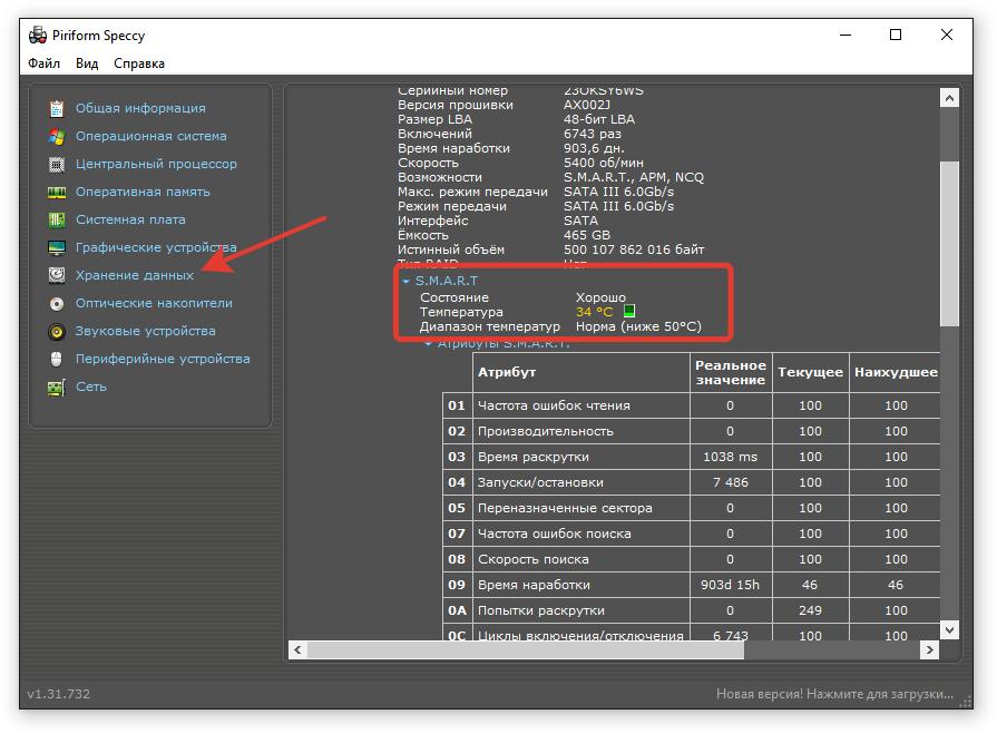 Результаты SMART-тестирования диска в программу Speccy